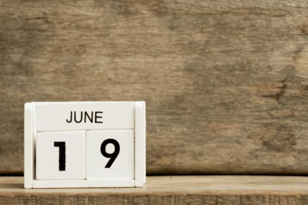 calendar showing June nineteenth in honor of juneteenth